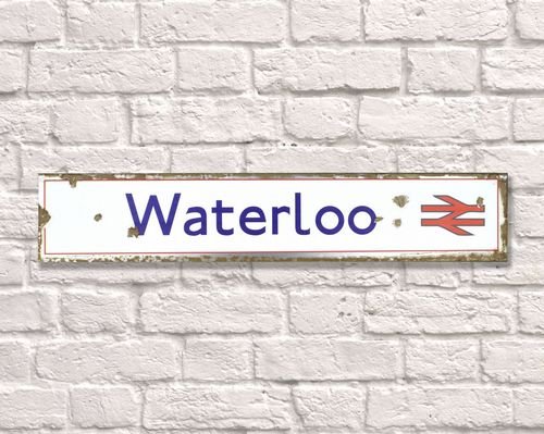Waterloo Rusty Metal Sign 15cm x 79cm